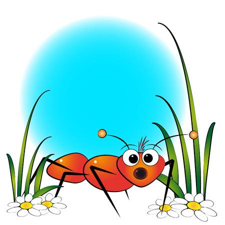 hormiga caricatura: Hormigas rojas y margaritas - Tarjeta para los ni�os - bloc de notas y etiquetas �til