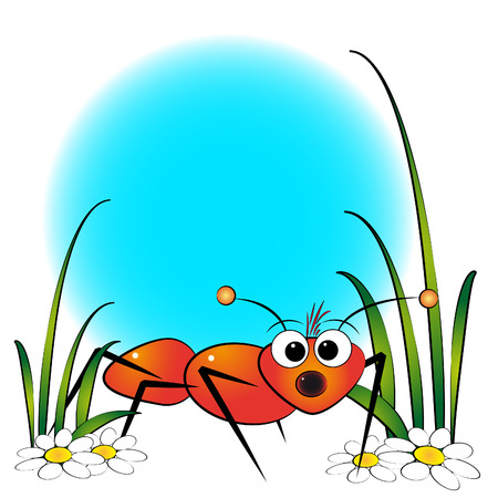 red ant: Red ant and daisy - Card for kids - Scrapbook and labels useful Illustration