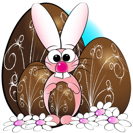 Easter eggs, bunny and daisies - Card for kids - Scrapbook and labels useful Vector