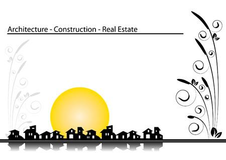 Folleto cubrir - tarjeta de visita: la arquitectura, la construcci�n, la compa��a de bienes ra�ces Foto de archivo - 4410605