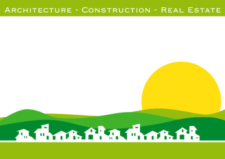 Brochure cover - business card: architecture, construction, real estate company Illustration