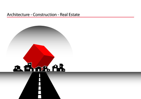 pamphlet: Brochure Cover - Business Card: Architecture, construction, real estate company Illustration