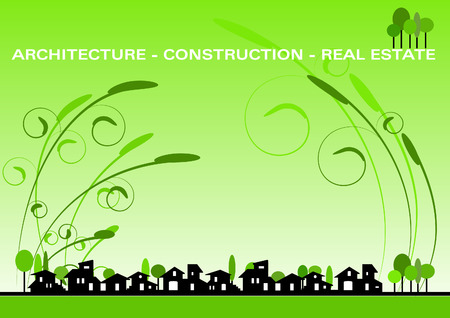 housing project: Brochure Cover - Business Card for architecture, construction, real estate company