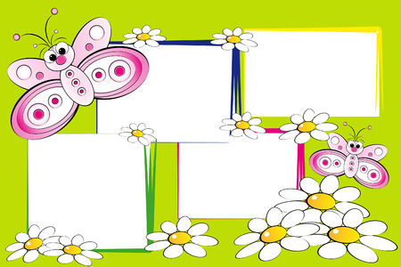 Butterflies and flowers - Card for kids - Scrapbook and labels useful Vector