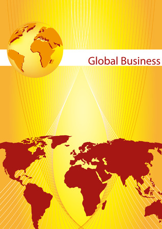 pamphlet: Brochure cover - Business card - Global business communication, company identity