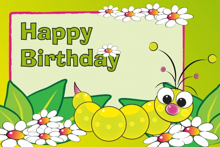worm cartoon: Grub and flowers - Birthday Card for kids