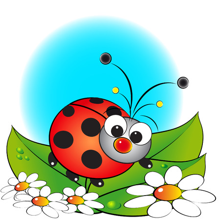 cartoon bug: Ladybug and flowers - Card for kids - Scrapbook and labels useful