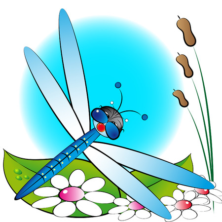 antenna dragonfly: Dragonfly and flowers - Card for kids - Scrapbook and labels useful Illustration