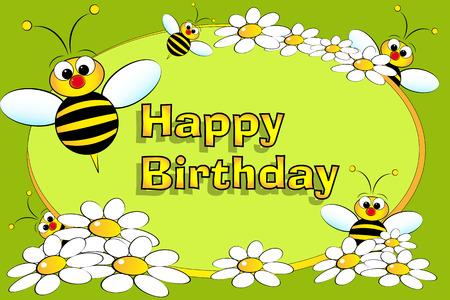 bee garden: Abeja y flores - tarjeta de cumplea�os para ni�os