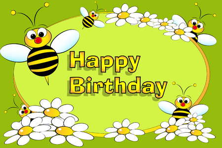 Bee and flowers - Birthday Card for kids Stock Vector - 4504220
