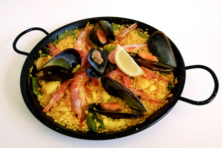 mallorca: Traditional spanish rice: paella and seafood