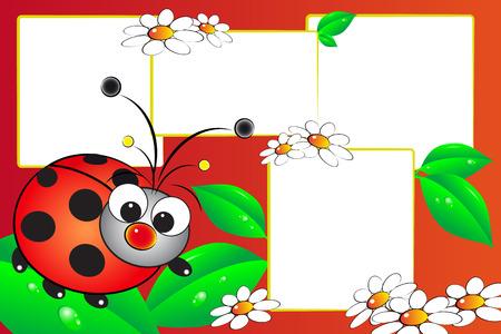 Kid plakboek met een lieveheersbeestje en bloemen - Fotolijsten voor kinderen Vector Illustratie