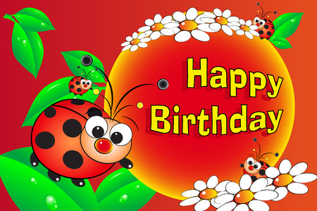 Ladybug and flowers - Birthday Card for kids Vector