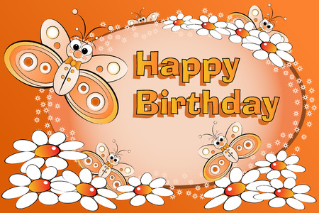 Butterflies and flowers - Birthday Card for kids Vector