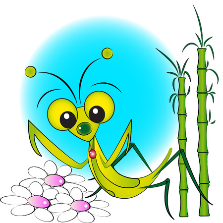 praying mantis: Praying Mantis with flowers and bamboo - Kid Illustration, label and scrapbook useful