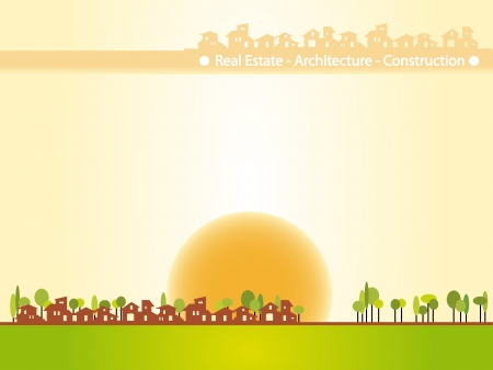 Brochure cover - Real estate, architecture, construction company. Warm tones, houses silhouettes