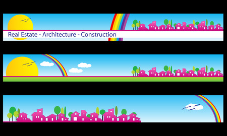 Web banner, business card - Real estate, architecture, construction company - Houses silhouettes and rainbow - Labels useful Stock Vector - 4553235