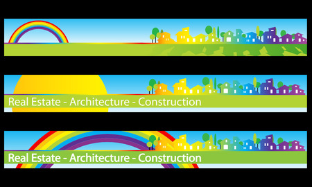 Web banner, business card - Real estate, architecture, construction company - Houses silhouettes and rainbow - Labels useful Vector