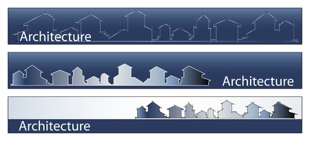 real estate house: Web banner, business card - Real estate, architecture, construction company - Houses silhouettes and rainbow - Labels useful