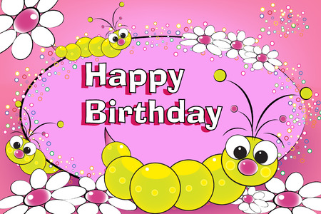 Grub and flowers - Birthday Card for kids Stock Vector - 4553240