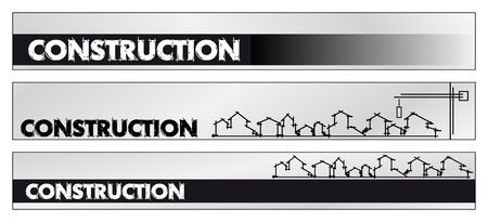 Web banner, business card - Real estate, architecture, construction company - Houses silhouettes and rainbow - Labels useful Stock Vector - 4573584