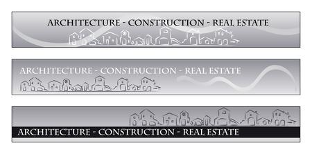 housing project: Web banner, tarjeta de negocios - Servicios inmobiliarios, arquitectura, empresa de construcci�n - Casas siluetas y arco iris - Etiquetas �til