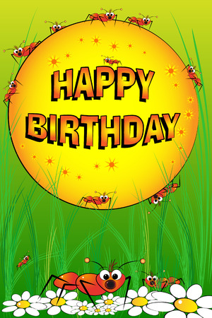 Ants and flowers - Birthday Card for kids Stock Vector - 4573591