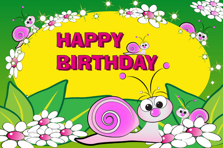 Snail and flowers - Birthday Card for kids Stock Vector - 4573731