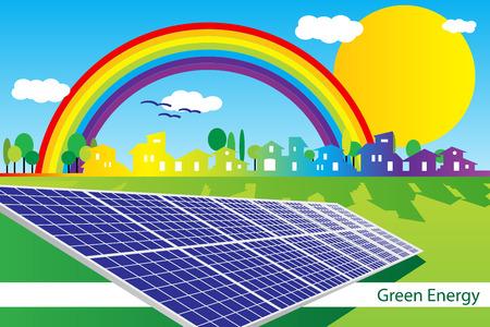 maison solaire: Brochure cover - Business card - Green Business identit� d'entreprise Illustration