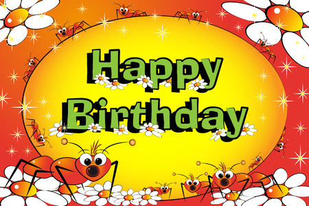 Ants and flowers - Birthday Card for kids Vector