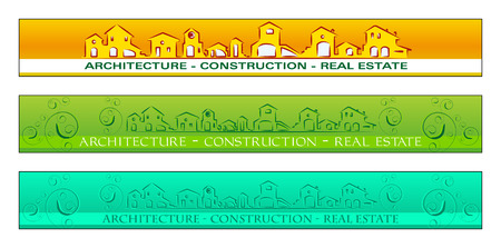 Web banner, business card, label or insigna for real estate, architecture, construction company Vector