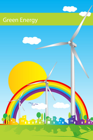 abstract mill: Wind power illustration, green energy Illustration