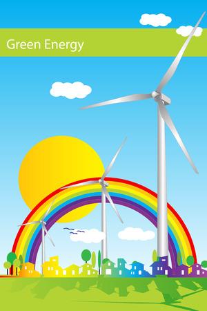 Wind power illustration, green energy Illustration