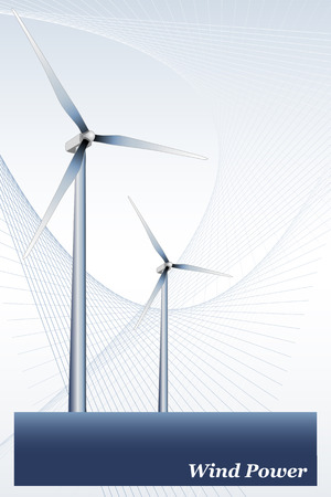 Wind power illustration, green energy Vectores