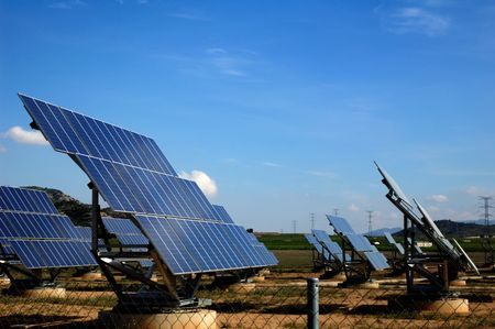Photovoltaic plant in Spain, green energy Foto de archivo