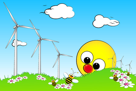 windpower: Wind turbines in a field with flowers and bees, kid illustration style