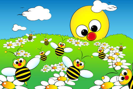 Good morning with flowers, bees and sun: kid illustration style
