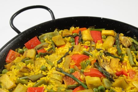 Traditional Spanish rice: Paella and vegetables - Vegetarian recipe Stock Photo - 4721294