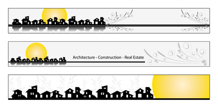 real estate background: Web banner, business card, label or insignia for real estate, architecture, construction company