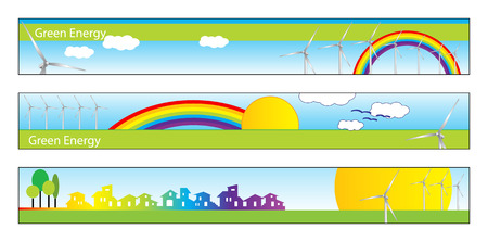 windpower: Web banner, business card, label or insignia for green energy project