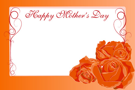 ecard: Mothers Day greetings card with roses and text frame