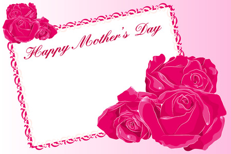 Mothers Day greeting card with roses and text frame Vector