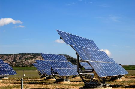 Photovoltaic plant in Spain, green energy 版權商用圖片