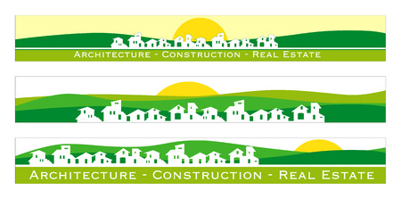 Web banner, business card, label or insignia for real estate, architecture, construction company