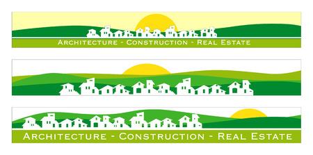 housing project: Web banner, tarjetas de visita, etiquetas o insignias de los bienes ra�ces, arquitectura, empresa de construcci�n