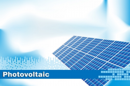 fotovoltaikus: Solar power, renewable energy.  Brochure cover or Business card