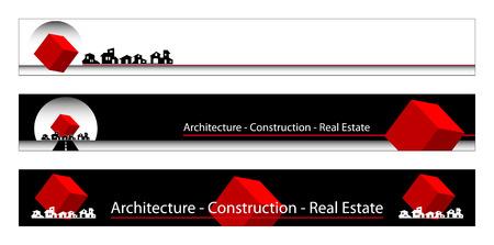 Web-Banner, Visitenkarten, Etiketten oder Abzeichen für Immobilien-, Architektur-, Bau-Unternehmen Standard-Bild - 4822360
