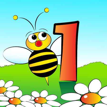 series: Animals and numbers series for kids, from 0 to 9 - 1 bee Illustration