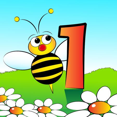 Los animales y los números de serie para los niños, de 0 a 9 - 1 de abejas Foto de archivo - 4867801