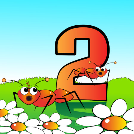 arithmetical: Animals and numbers series for kids, from 0 to 9 - 2 ants Illustration